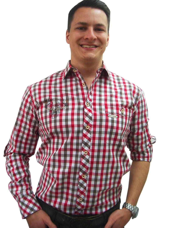 Herren Trachtenhemd rot weiß braun kariert Slim Fit Herrenhemd Langarm von Spieth & Wensky