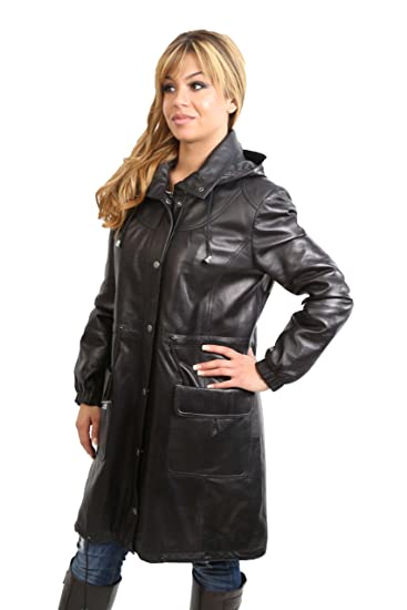 f7c9cbb70ad Womens 3/4 Length Parka Duffle Leather Jacket With Detachable Hood KYRA  Black