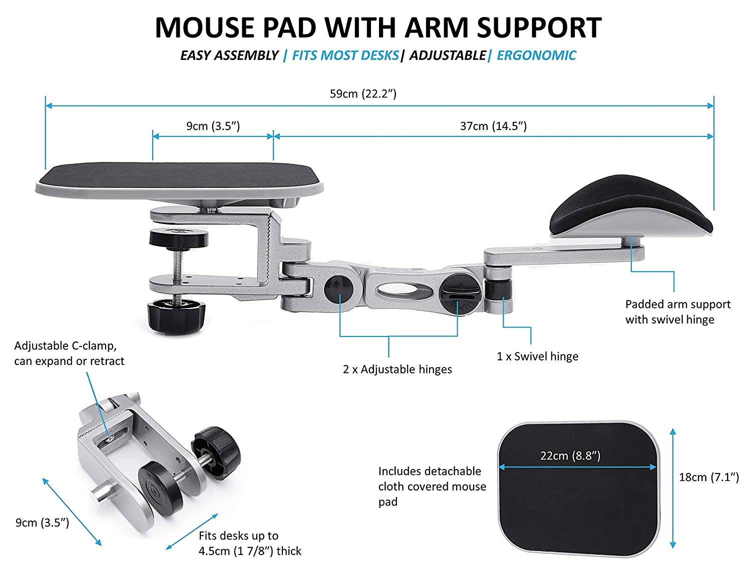Ergonomic Mouse Pad with Wrist and Arm Support Ergoactive Pro Series Adjustable Arm Support for Most Desk Sizes