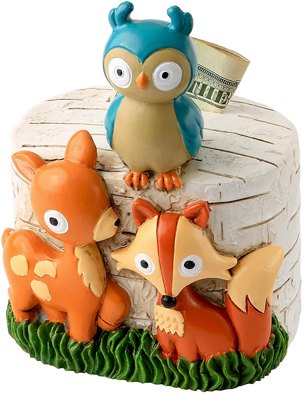 Handpainted Polyresin Baby Room Decor Fashioncraft Woodland Animals Nursery Money Bank Gender Neutral for Boys and Girls 4.5 x 3.5 x 3 inch 3D Design