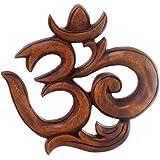 NOVICA Hand Carved Suar Wood Relief Wall Sculpture 'Sacred Om'