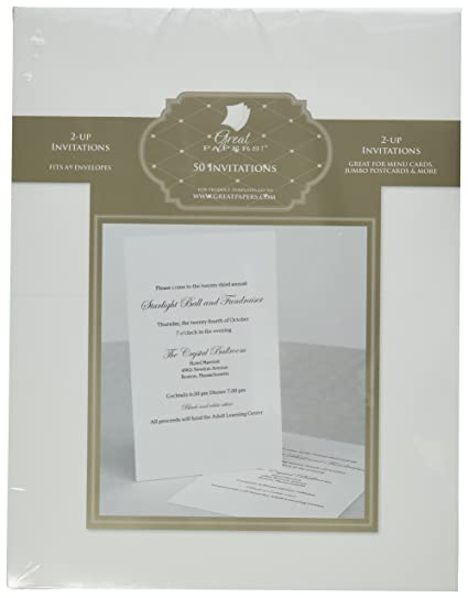 amazon com great papers white 2 up invitations 25 sheets 50