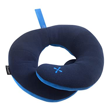 BCOZZY Chin Supporting Travel Pillow - Supports The Head, Neck & Chin in Any Sitting Position. A Patented Product. Adult Size, Navy