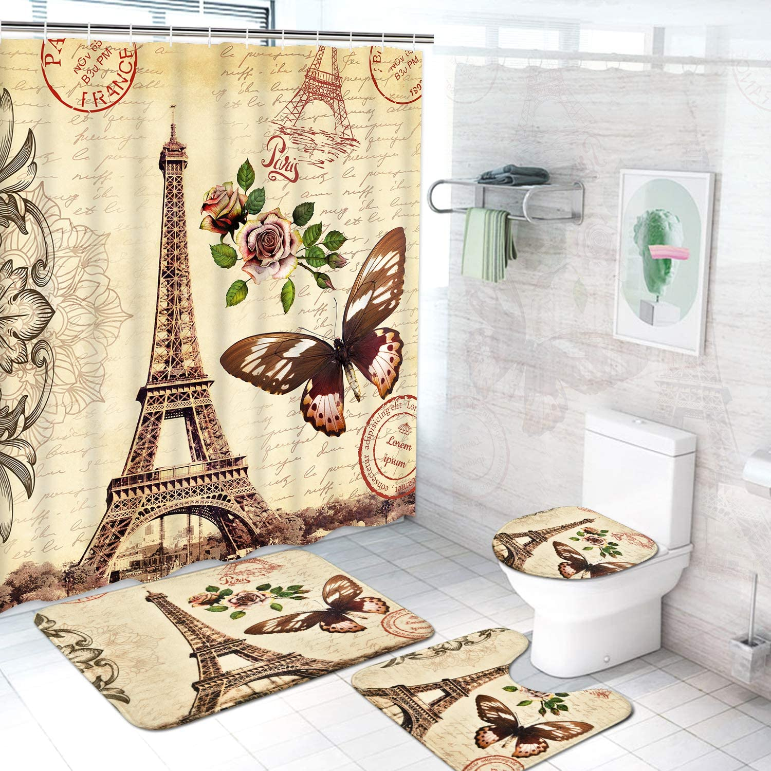 Paris Eiffel Tower Shower Curtain Bath Mat Toilet Cover Rug Bathroom Decor