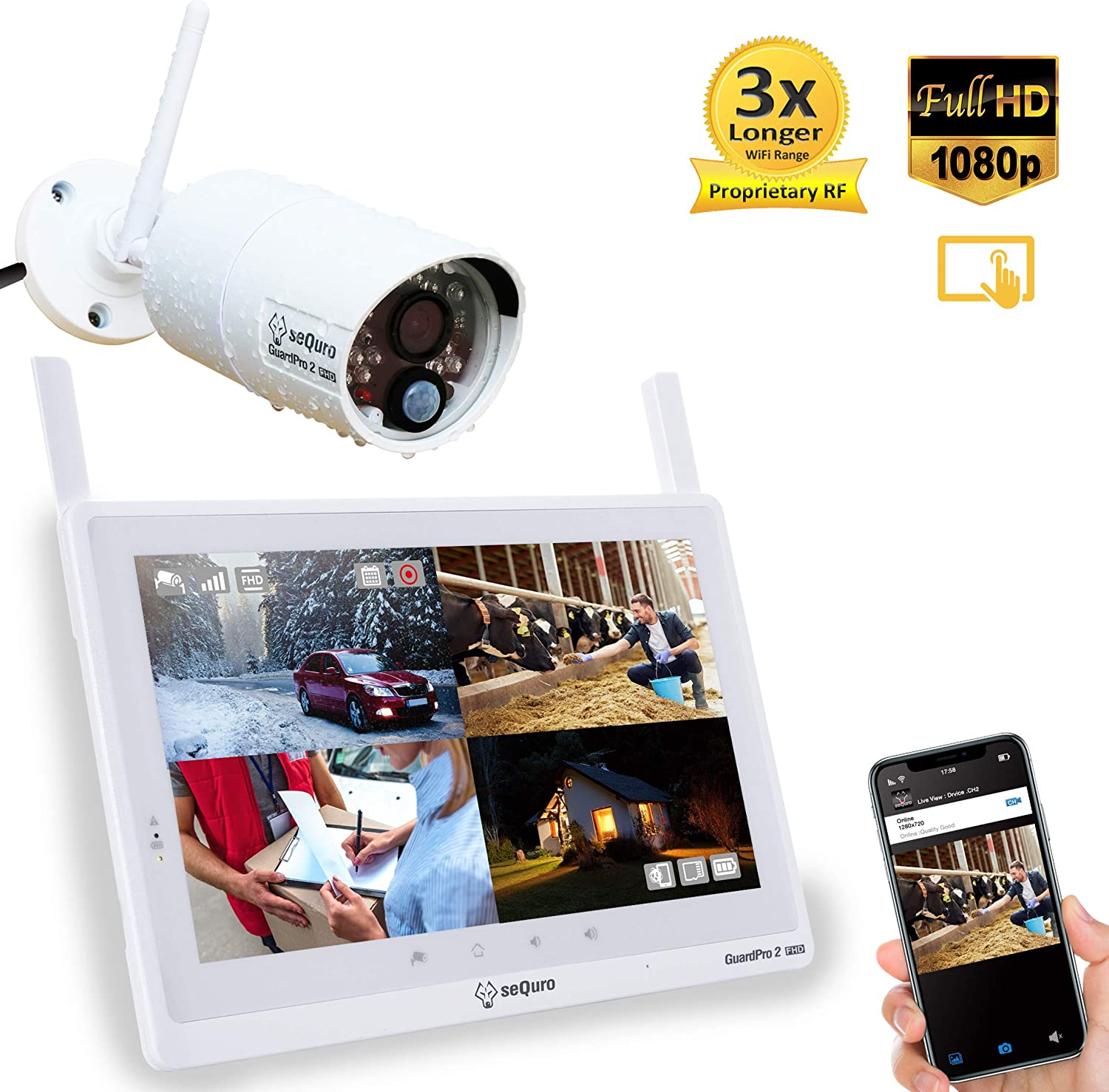 Sequro GuardPro2 Plus 1080P Home Surveillance Camera System Wireless IP66 Outdoor Camera and 10-inch Touchscreen Monitor, Real Day and Night Vision for Home, Warehouse, Barn, Driveway