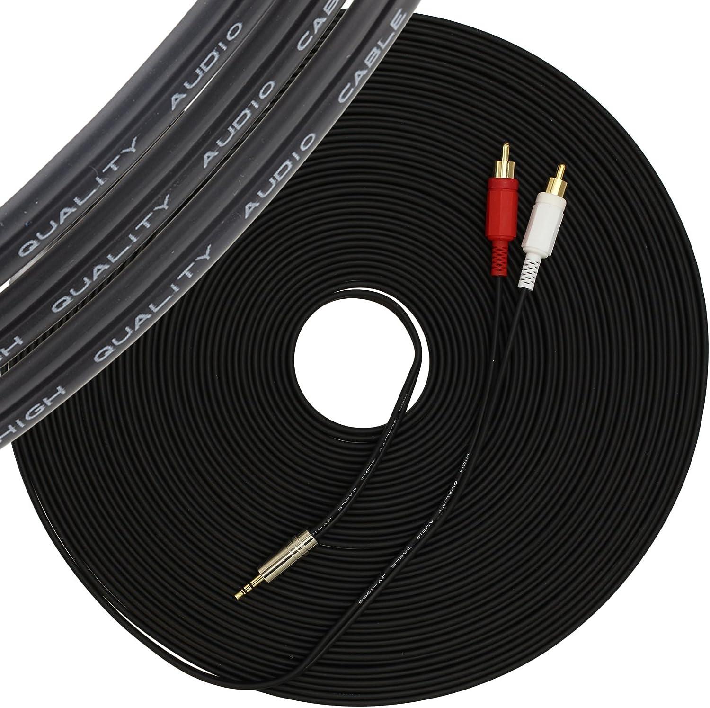 30 meter 1//8 1STec 30 m C/âble st/ér/éo m/âle de 6,35 mm /à 2 RCA de 30 m/ètres de long pour connecter des prises casque de type plus grand sur des appareils audio studio DJ /à un amplificateur