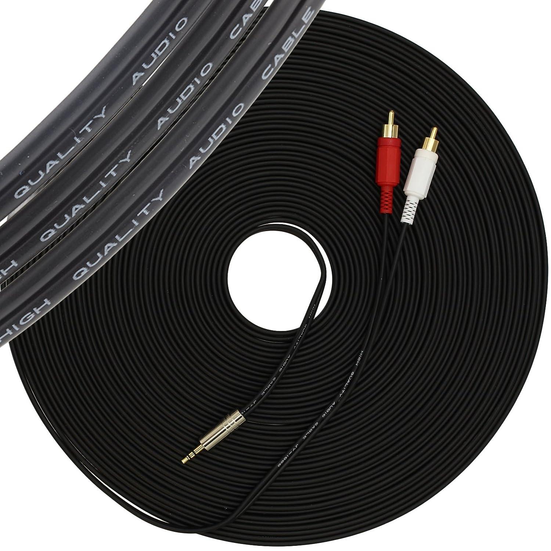 1STec 15 m C/âble st/ér/éo m/âle de 6,35 mm /à 2 RCA de 15 m/ètres de long pour connecter des prises casque de type plus grand sur des appareils audio studio DJ /à un amplificateur 15 meter 1//8