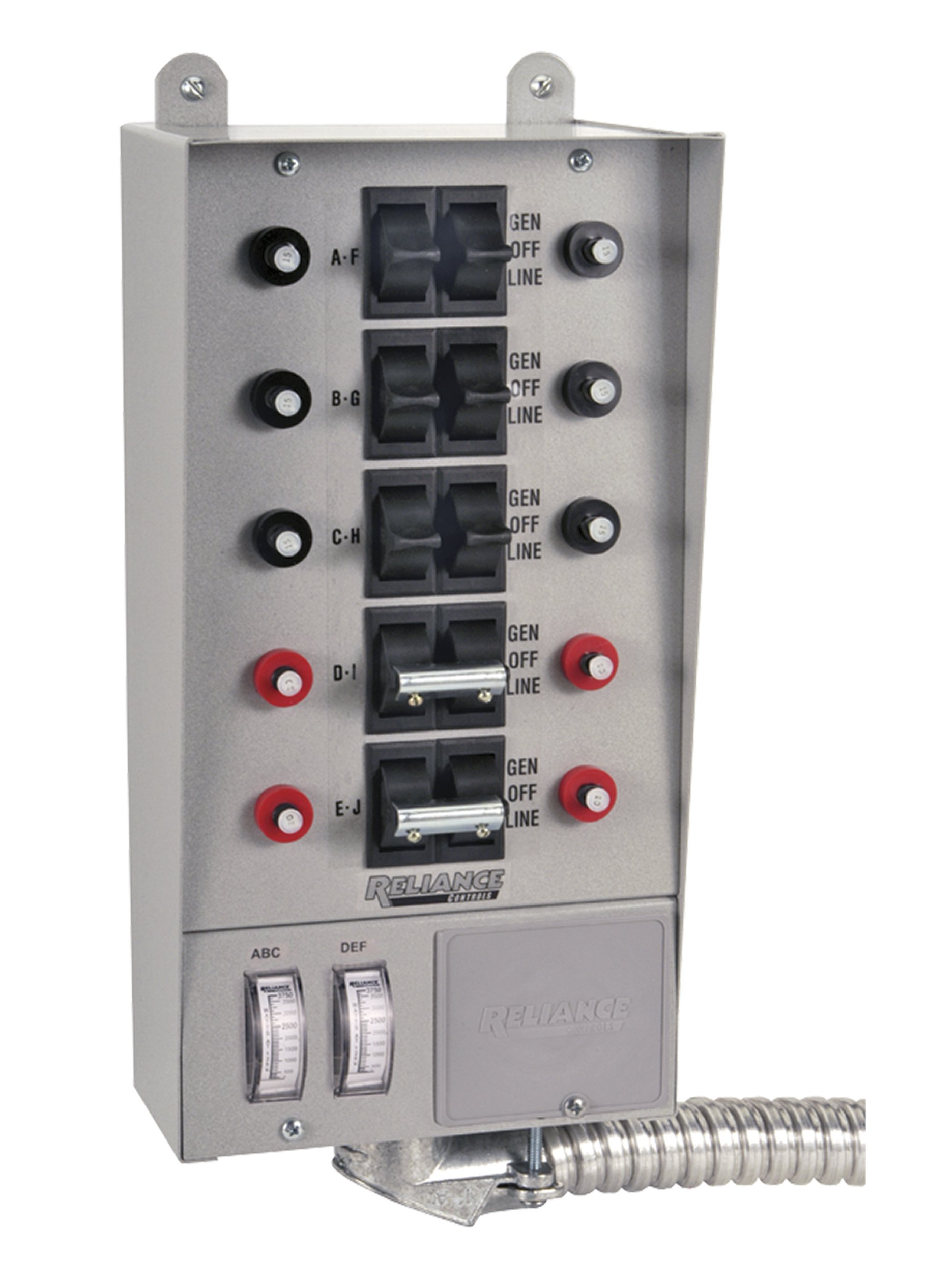 Reliance Controls Corporation 51410C Pro/Tran 10-Circuit Indoor Transfer Switch for Generators Up to 12,500 Running Watts by Reliance Controls