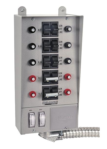 amazon com: reliance controls corporation 51410c pro/tran 10-circuit indoor transfer  switch for generators up to 12,500 running watts: garden & outdoor