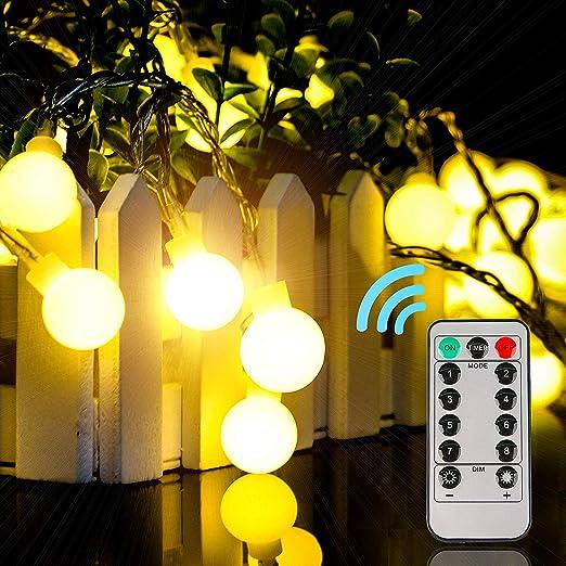 EUKO Guirnalda luces exterior 10 m 100 LEDs impermeable Cadena de luces 8 Modos con Control Remoto para Dormitorio,Jardines,Boda,Cumpleaños (blanco cálido): Amazon.es: Iluminación