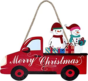 Jetec Merry Christmas Decorations Christmas Red Truck Home Sign Ornament Snowman Hanging Holiday Decor with Rope Rustic Vintage Red Farm Truck Wood Sign for Christmas Home Coffee Wall Decor