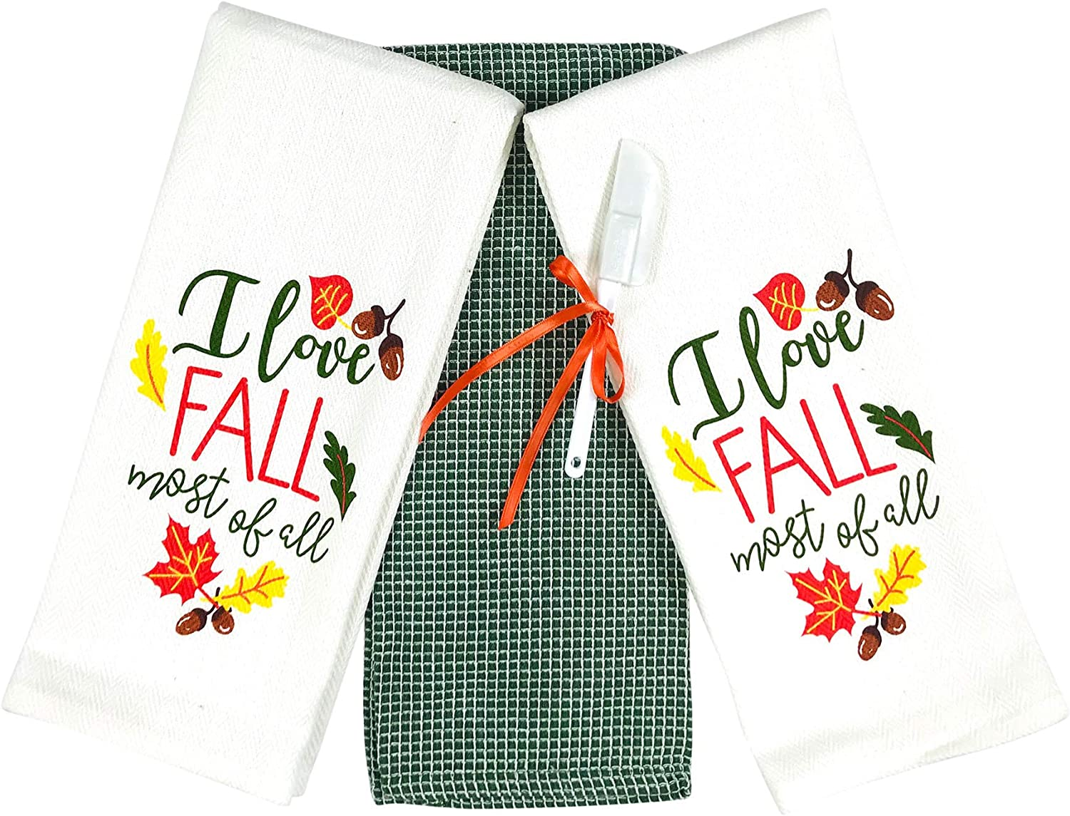 Amazon Com Fall Autumn Kitchen Towels Set 3 Pc Colorful Love Fall Most Of All With Leaves And Acorns Forest Green White Home Kitchen