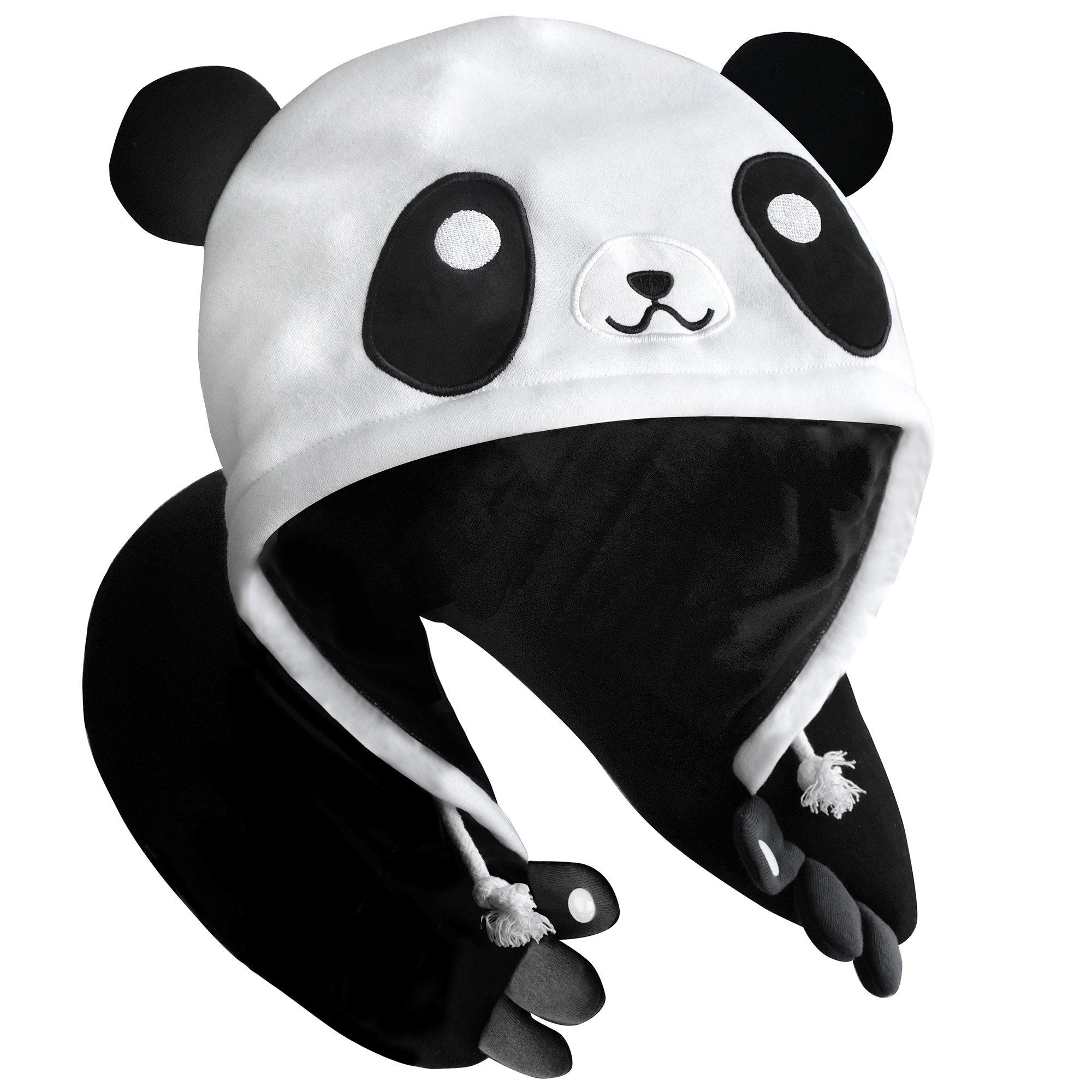 Panda Hooded Animal Plush Neck Pillow, Microbeads for Comfort with Adjustable Drawstring, Perfect For Airplane Travel, Neck Support, as a Panda costume, Gift for Panda Lovers, Designed In Japan