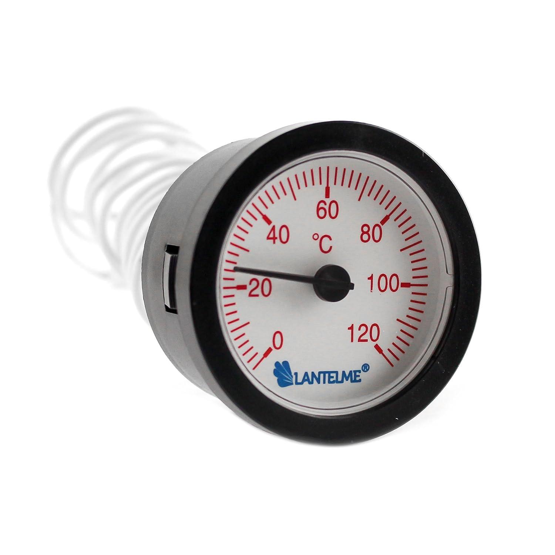 Lantelme 6760 Kapillarthermometer Set mit je 1,55 Meter F/ühlerl/änge f/ür Heizung Kessel Kaltwasser Analog Thermometer mit Skala in rot und blau