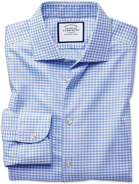 Camisa Business Casual Azul Celeste sin Plancha con Texturas Modernas Slim fit, con Cuello semicutaway y Diseã±o de Pata de Gallo: Amazon.es: Ropa y accesorios