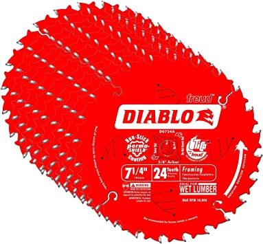 Diablo D0724a 7 1 4 24t Diablo Circular Saw Framing Blade Amazon Com