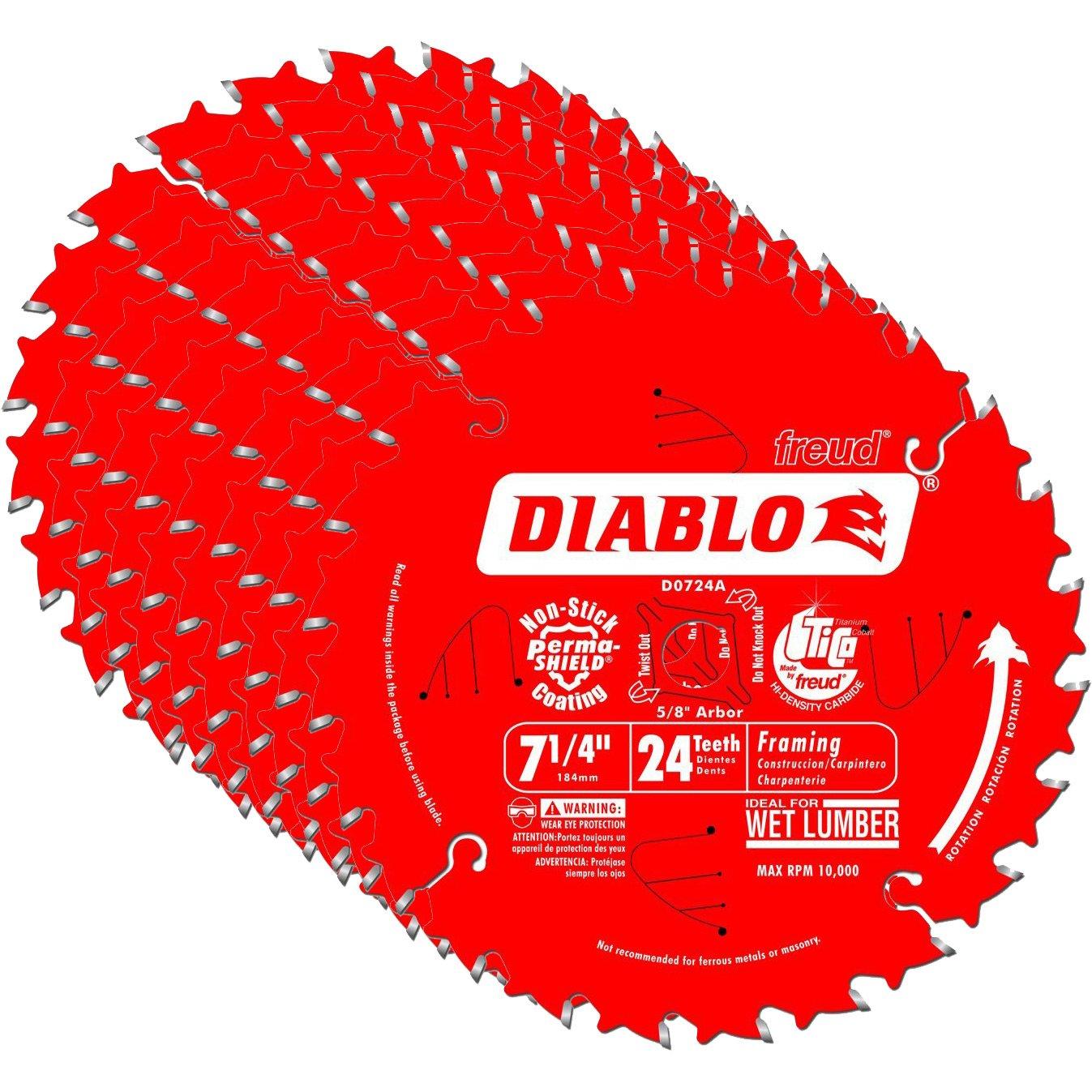 Hoja Sierra Diablo por Freud D0724A Ø184mm - 24 Dientes - eje 16mm para Madera [10un]