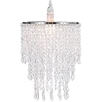 Waneway 3 Tiers Ceiling Chandelier Pendant Light Shade with Acrylic Jewel Droplets, Beaded Lampshade with Chrome Frame and Clear Beads, Diameter 8.7 inches, Clear