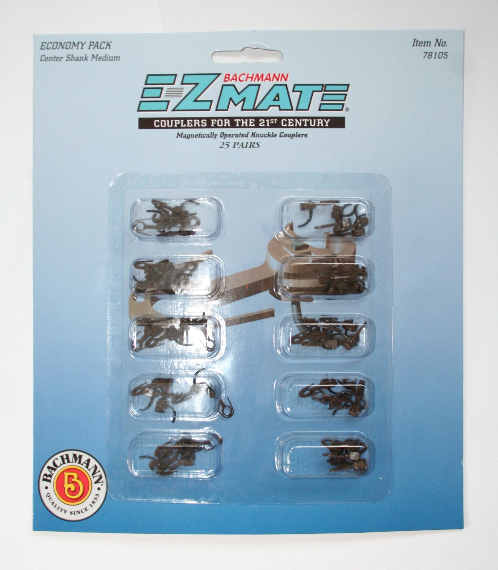 Bachmann Trains E - Z Mate Mark II Magnetic Knuckle Couplers with Metal Coil Spring  - Economy Pack  - Center Shank - Medium (25 Coupler pairs per card) - HO Scale