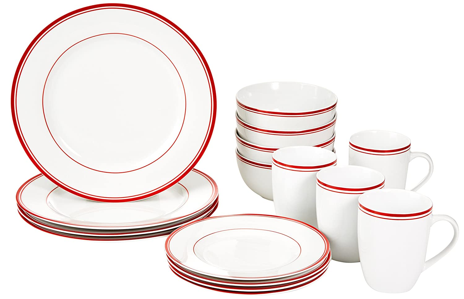 Amazon.com AmazonBasics 16-Piece Cafe Stripe Dinnerware Set Service for 4 - Red Kitchen u0026 Dining  sc 1 st  Amazon.com & Amazon.com: AmazonBasics 16-Piece Cafe Stripe Dinnerware Set ...