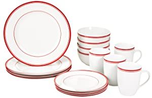 AmazonBasics 16-Piece Cafe Stripe Dinnerware Set, Service for 4 - Red