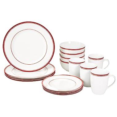 AmazonBasics 16-Piece Cafe Stripe Kitchen Dinnerware Set, Plates, Bowls, Mugs, Service for 4, Red