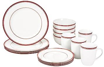 AmazonBasics - Servizio di piatti di porcellana per 4 persone, 16 ...