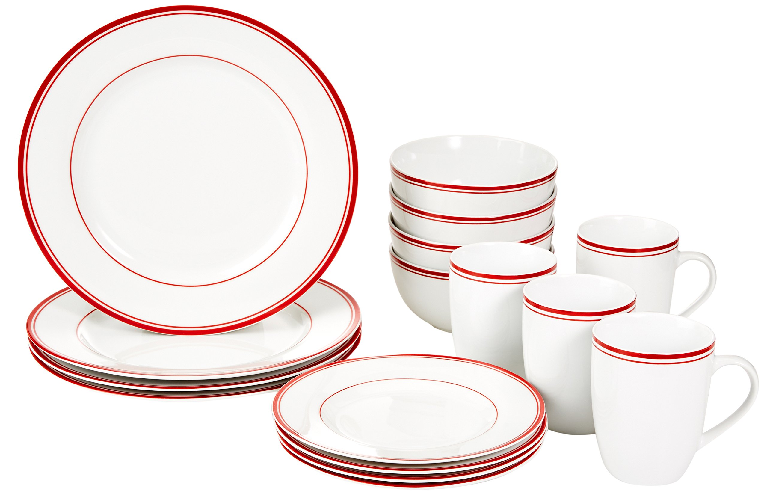 AmazonBasics 16-Piece Cafe Stripe Dinnerware Set, Service for 4 - Red by AmazonBasics