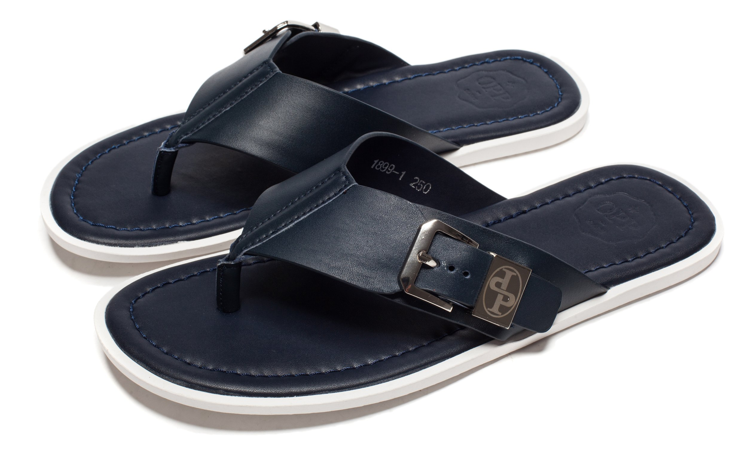 OPP Men's Classic Fashion Casual Anti-skidding Flip-Flops Slippers in Genuine Leather Summer 2016 Collection, Blue,10 D(M) US