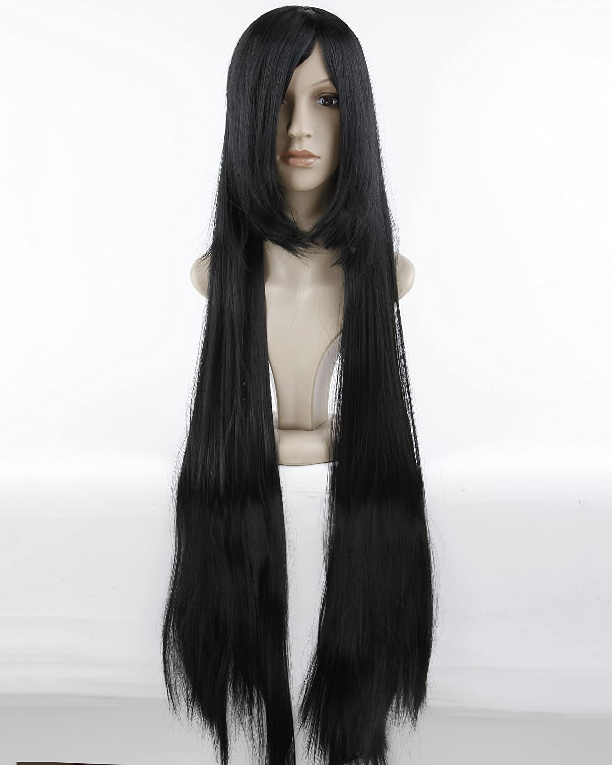 Cool2day® 40 Long Straight Hair Costume Play Party Full Wig+Wig Cap (Black) JF66 jf010066