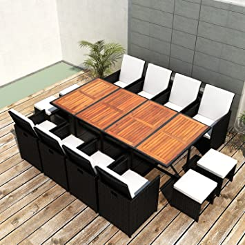 Acacia Wood Patio Rattan Wicker Dining Set, Outdoor Dining Furniture Set,  Table 8 Chairs