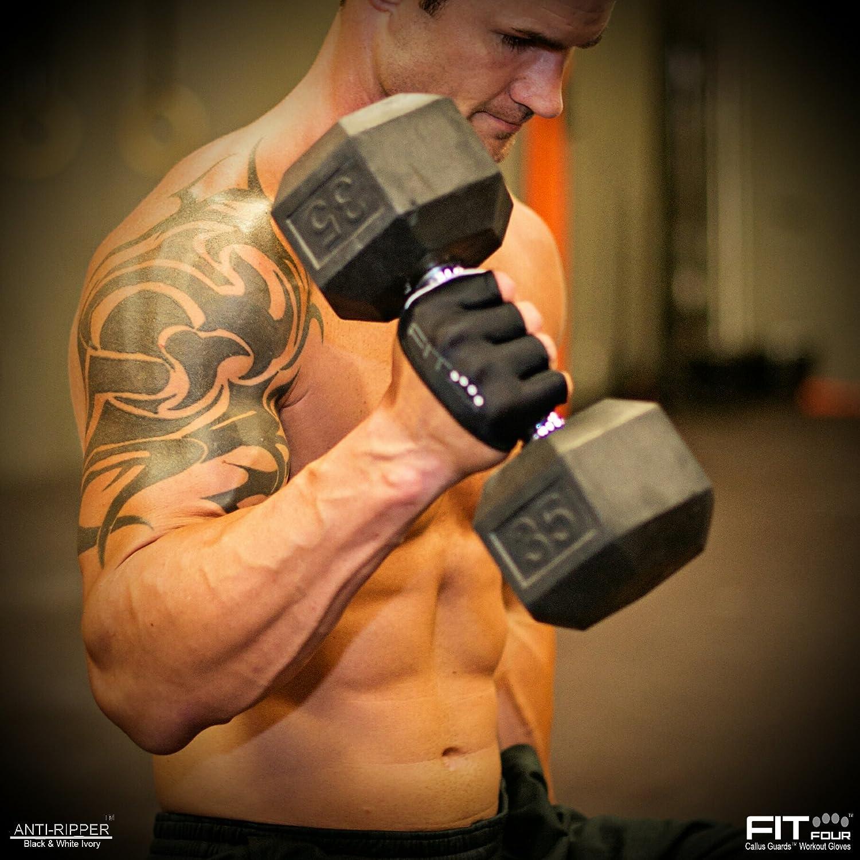 guante Anti-Ripper | Guantes de fitness con protecciones para callosidades de Fit Four para atletas de levantamiento de pesas y entrenamiento ...