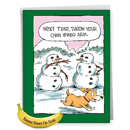 Amazon snowman arm funny christmas xl paper greeting card snowman arm funny christmas xl paper greeting card hilarious winter xmas snowmen and dog m4hsunfo