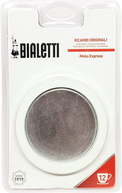 Bialetti 0800006 – Juego de 3 Juntas + Filtro para cafeteras Italianas de 12 Tazas, Metal, Color Blanco, 5 x 5 x 1 cm: Amazon.es: Hogar