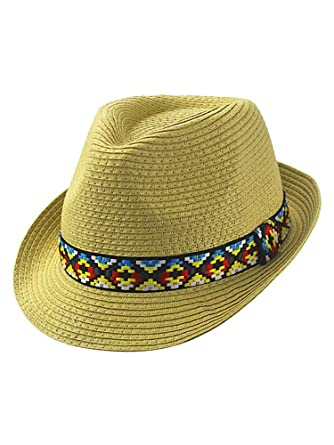 633f38d257206 Beige Woven Straw Fedora Hat with Aztec Band at Amazon Women s Clothing  store