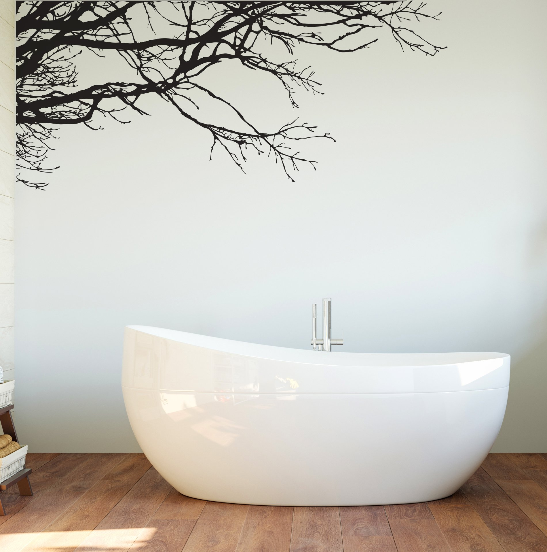 Large Tree Wall Decal Sticker - Semi-Gloss Black Tree Branches, 44in Tall X 100in Wide, Left To Right. Removable, No Paint Needed, Tree Branch Wall Stencil The Easy Way. by Stickerbrand (Image #7)
