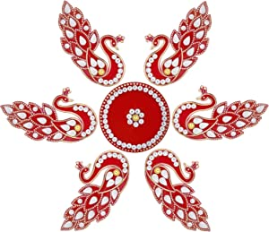 Aheli Peacock Shape Rangoli for Home Office Diwali Indian Festivals Decoration Traditional Studded with Faux Stones Floor Decorations (Red)