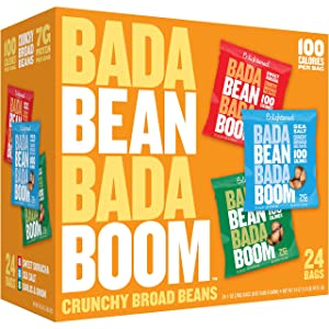 Bada Bean Bada Boom Plant-based Protein, Gluten Free, Vegan, Non-GMO, Soy Free, Kosher, Roasted Broad Fava Bean Snacks, 100 Calories per Bag, The Savory Box Variety Pack, 1 Ounce (24 Count)