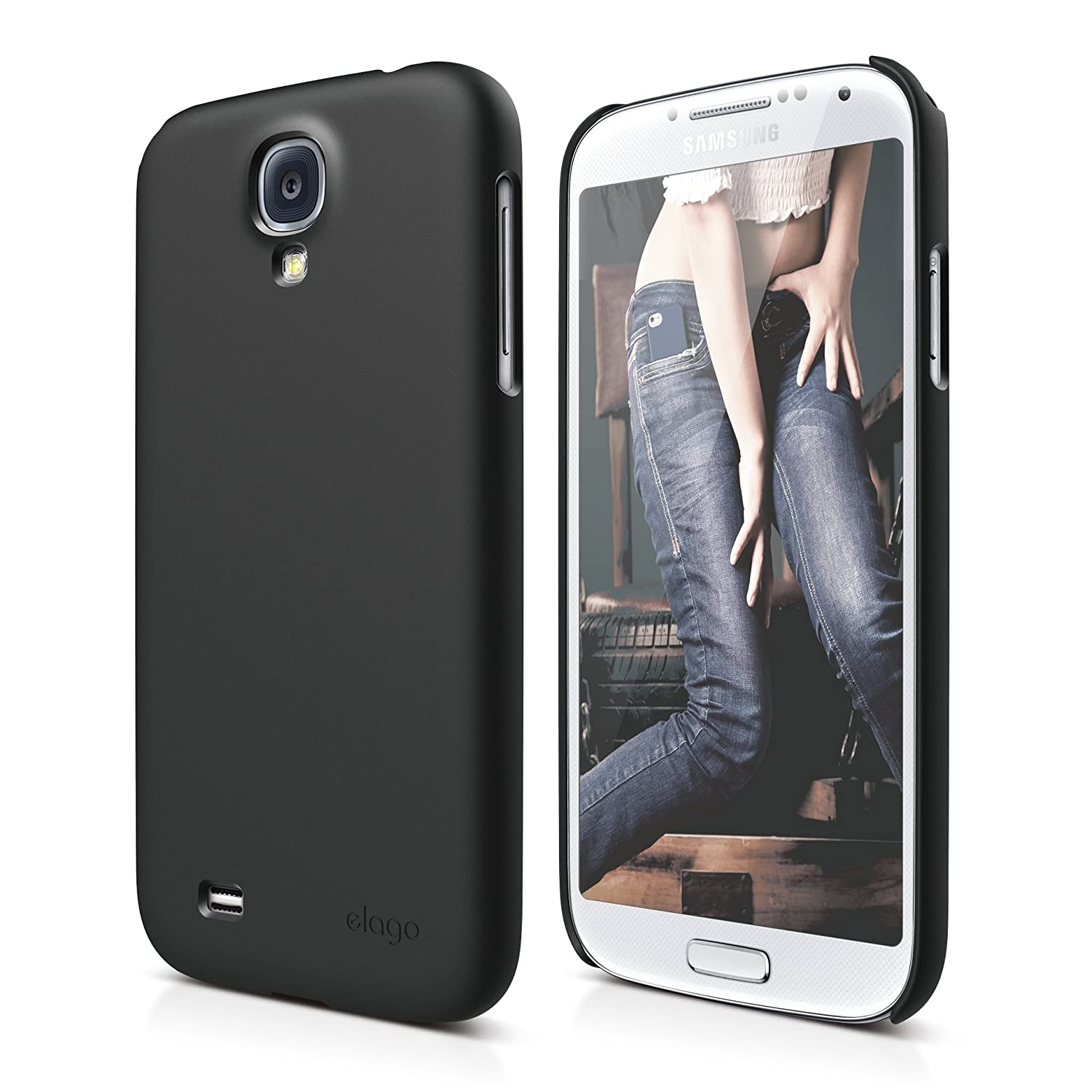 elago G7 Slim Fit Case for Galaxy S4 + HD Professional Extreme Clear film included - Full Retail Packaging (Soft feeling Black)