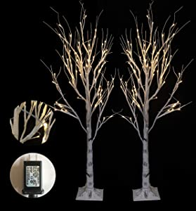 LED Lighted Birch Tree for Thanksgiving Decor Home Wedding Party Indoor Outdoor Christmas, Fall, Autumn Decoration,, Warm Whit (120CM)