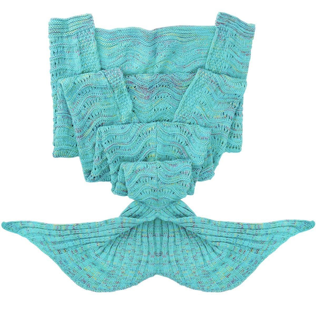 Fu Store Mermaid Tail Blanket Crochet Mermaid Blanket for Adult, Super Soft All Seasons Sofa Sleeping Blanket, Cool Birthday Wedding Christmas, 71 x 35 Inches, Mint Green by Fu Store (Image #5)