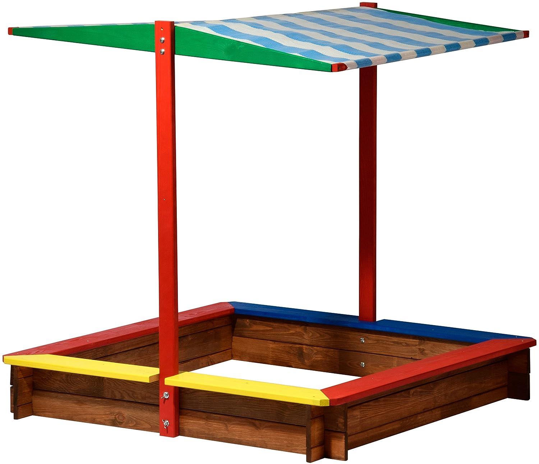 dobar 94355FSC - Sandkasten Holz mit Dach, groß XL viereckig, Sandkiste Sonnendach für Kinder Outdoor, 120 x 120 x 125 cm, FSC-Holz, bunt