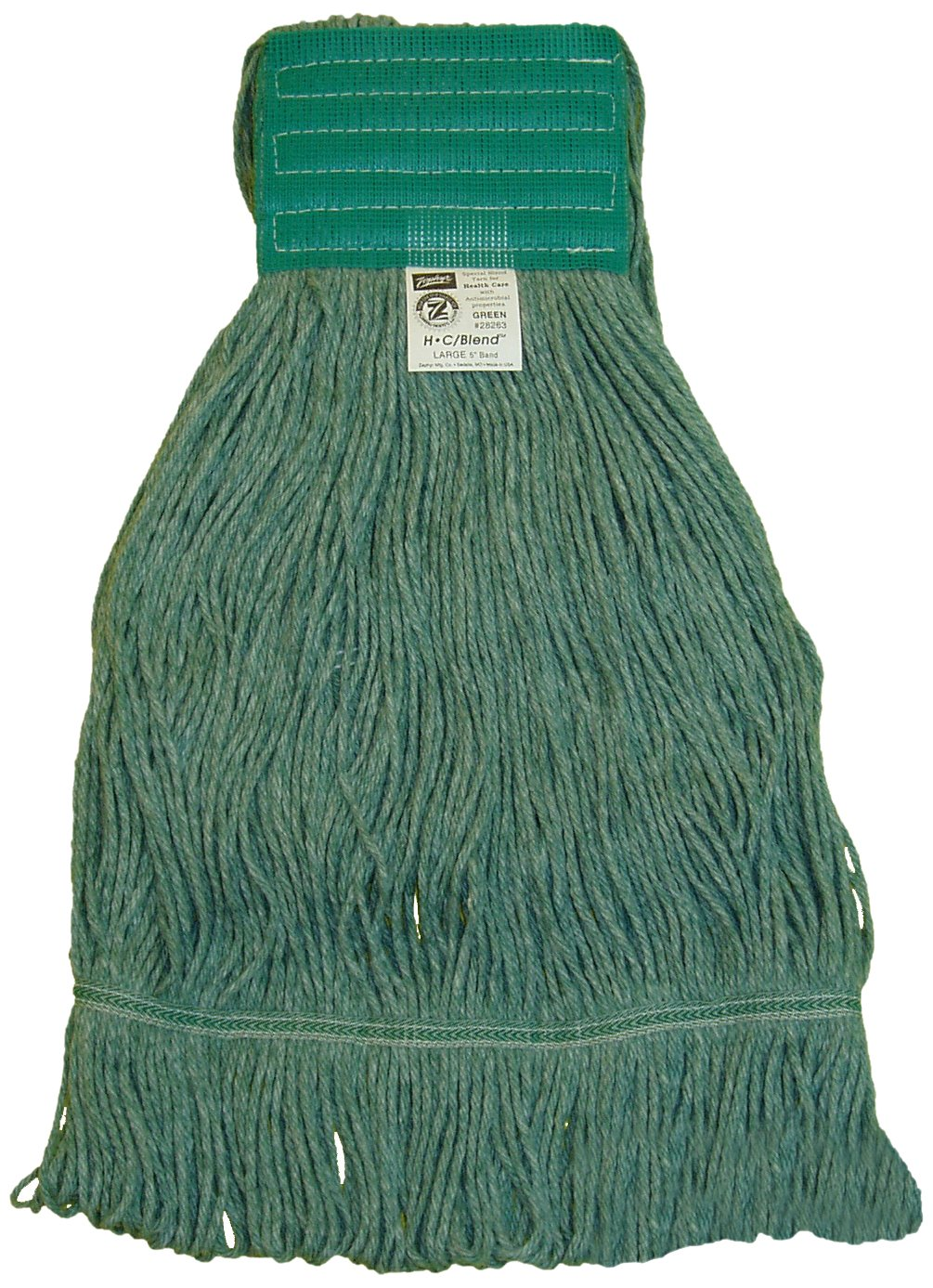Zephyr 28264 HC/Blend Green 4-Ply Yarn X-large Health Care Loop Mop Head with 5'' Mesh Wide Band (Pack of 12)
