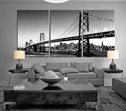 Black U0026 White Large Art San Francisco Skyline And Bay Bridge At Sunset,  California Canvas