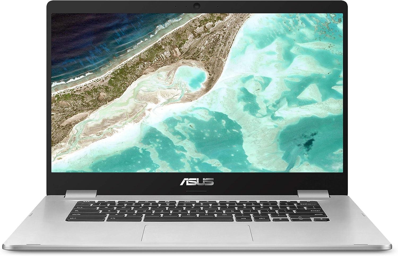"ASUS Chromebook C523 15.6"" HD NanoEdge Display with 180 Degree Hinge Intel Dual Core Celeron N3350 Processor, 4GB RAM, 16GB eMMC, Silver Color, C523NA-DH46"