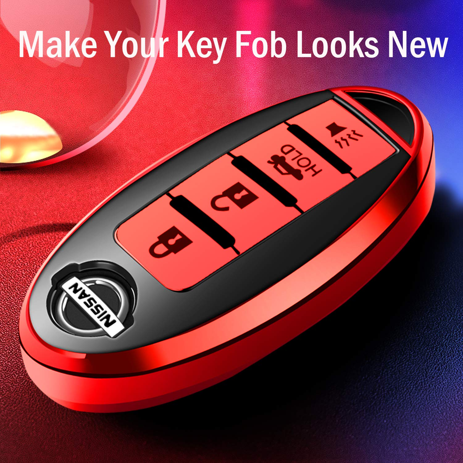 Key Fob Case for Nissan Altima Sentra Maxima Rogue Armada Pathfinder 370Z Smart 4 Buttons Premium Soft TPU Full Cover Protection Smart Remote Keyless,Blue COMPONALL for Nissan Key Fob Cover