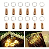 Botella de luz, ALED LIGHT 12 Pack Botellas de Vino Luces 20 LED Luz de Bricolaje Corcho Micro Luces LED para Botella de Vino para Boda, Fiesta, Decoración de Botella,Decoración de Luces
