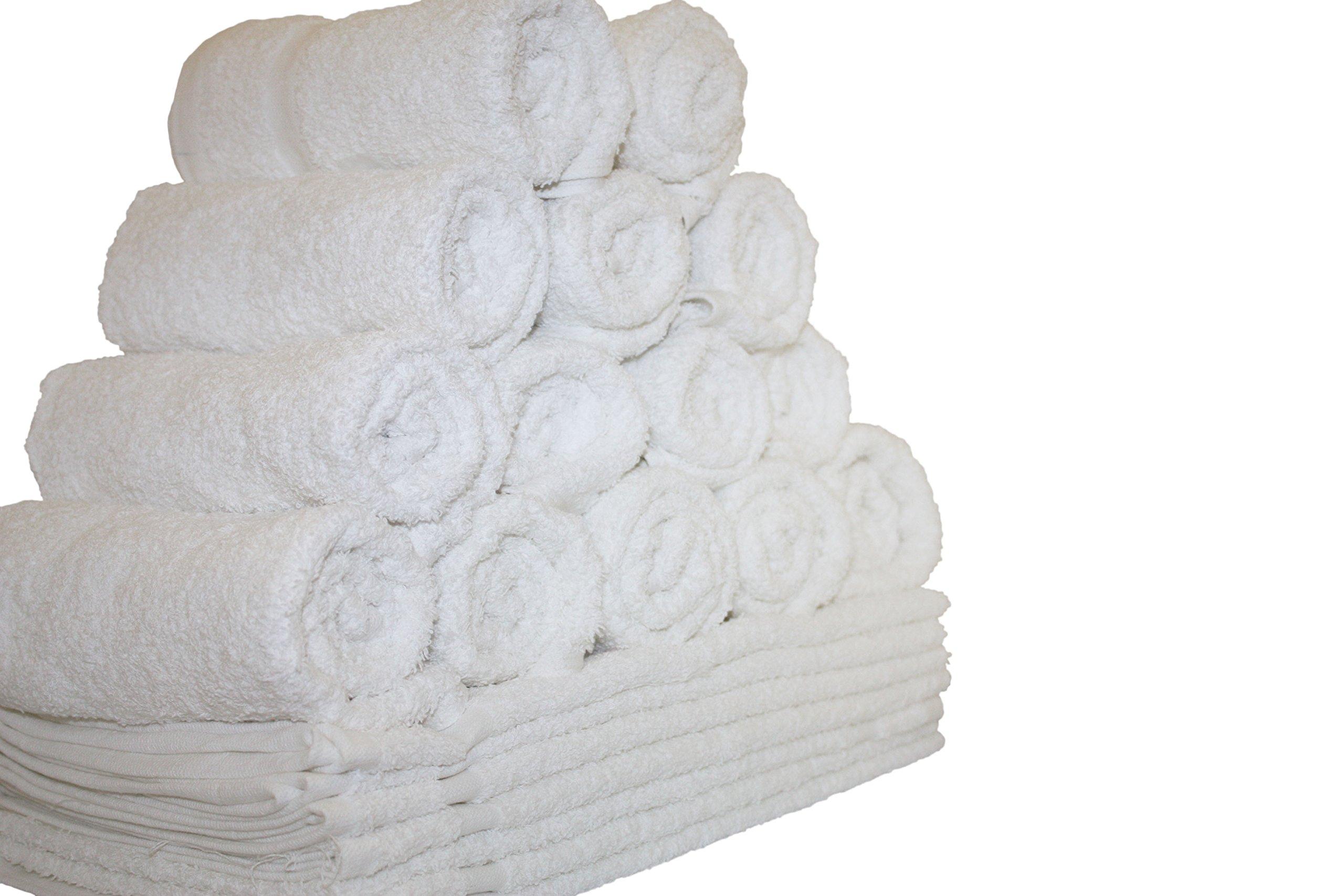12-Pieces Salon Gym Spa Hand Ring Spun Towels, 16x27'' White Eco-Friendly 100% Cotton - by Atlas