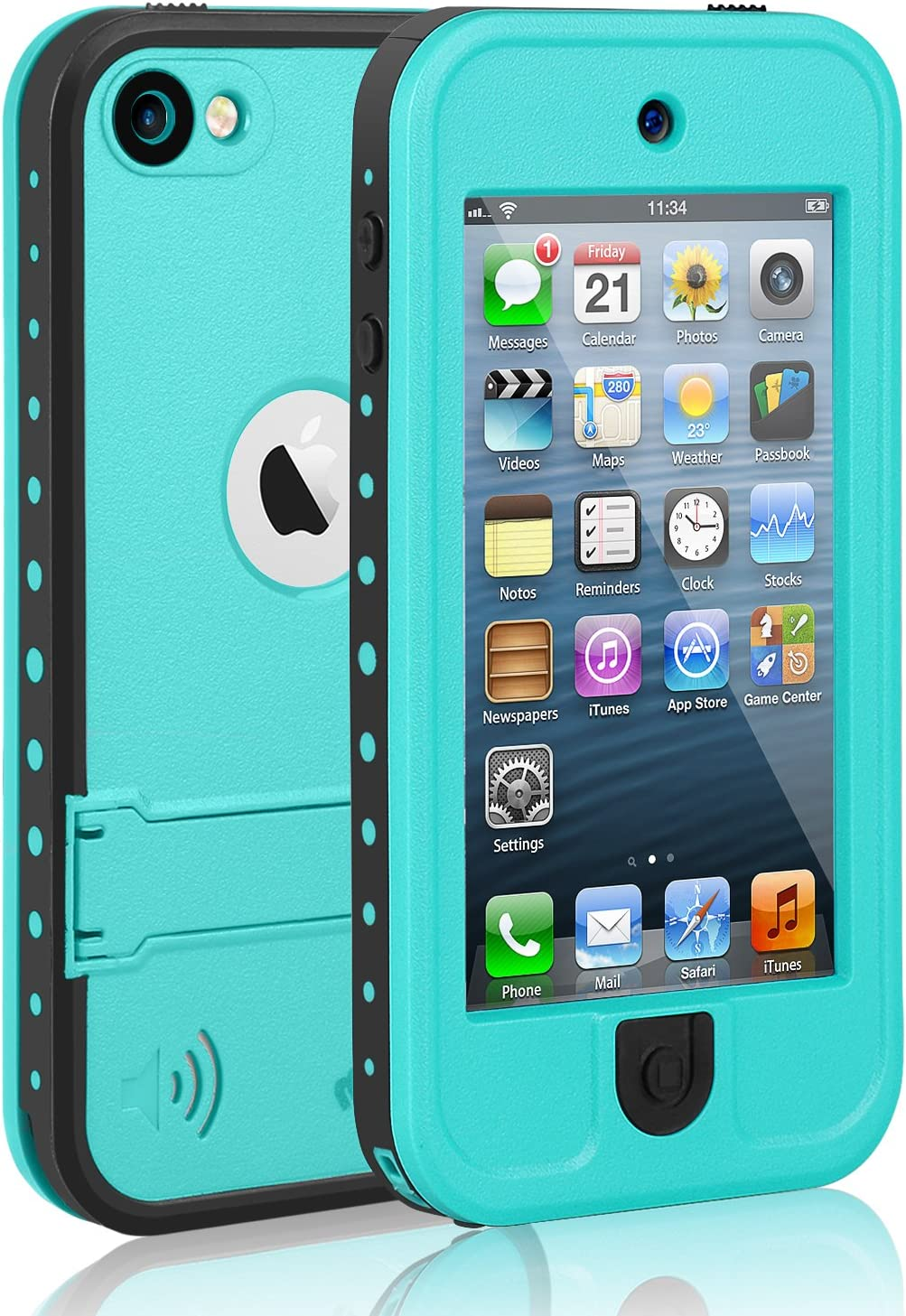 Waterproof Case for iPod 7 iPod 5 iPod 6, Meritcase Waterproof Shockproof Dirtproof Snowproof Case Cover with Kickstand for Apple iPod Touch 5th/6th/7th Generation for Swimming Diving Surfing (Blue)