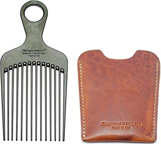 """product image for Chicago Comb No. 7 Carbon Fiber + Horween English Tan leather sheath, Made in USA, Detangling, Pick & Lift Comb, Men & Women, Long, Curly & Thick Hair, Big Beards & Afros, Anti-Static, 6"""" (15 cm) Long"""